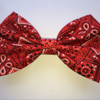Red Bandana Pinup Rockabilly Fabric Hair Bow/ Pinup/ Red Hair Bow/ Rockabilly Hair Bow/ Fabric Bow/ Fabric Hair Bow/ Hair Accessories