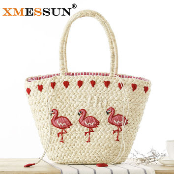 XMESSUN Brand 2017 New Embroidery Women's Hand Bag Large Straw Shoulder Bag Fashion Flamingo Beach Bags Big Tote Woven Bag L204
