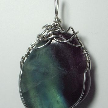 Fluorite Pendant Wire Wrapped .925 Sterling Silver