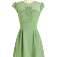 ModCloth Vintage Inspired Mid-length Cap Sleeves A-line Bow it by Heart Dress