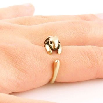 Animal Wrap Ring - Bunny -Yellow Bronze - Adjustable Ring - keja jewelry