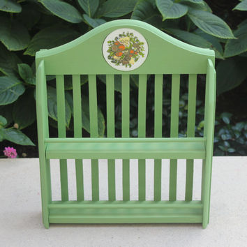 Cottage chic vintage wood spice rack with ceramic embellishment, painted in Annie Sloan green chalk paint