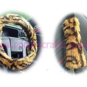 Gold Tiger print fuzzy Car Steering wheel cover & matching faux fur seatbelt pad set