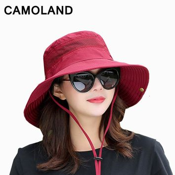Summer Bucket Hat Breathable Mesh Beach Hats Unise Sun Hat Outdoors  UV Protection Fishing Caps Family travel Boonie Hat Fashion