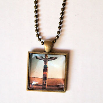 Totem Pole Necklace - unique hipster boho chic native american jewelry square florida landscape palm tree original photography print