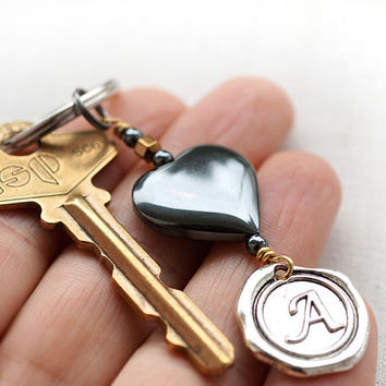 Monogram Keychain, Personalized Keychain, Initial Keychain, Hematite Heart, Wax Seal, Gray Metallic Key Ring, Gift for Man or Woman