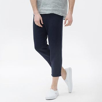 Men Joggers Ankle Length Pants Thin Male Casual Skinny Linen Trousers Loose Cotton Pants Men Clothing