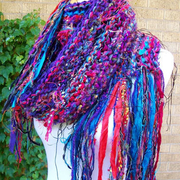Sari Silk Ribbon Scarf Vibrant Colors Long Funky Fringe Imported Fringe Fiber Aqua and Deep Violet Funky Style