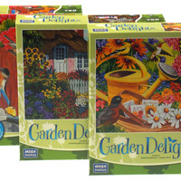 Garden Delights 750 Pc Jigsaw Puzzle Set 3 19x27 Friends Rose Cottage No Vacancy