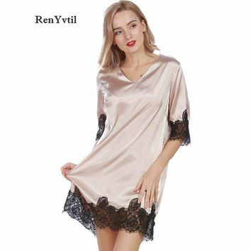 Renyvtil Lace Women Nightgowns 2017 Designer Summer Faux Silk Ladies Sexy Dressing Gowns Female Silky Woman Sleep Lounge