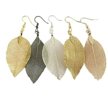 Natural Hand Made Real Gilded Leaf Dangle Earrings