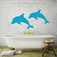 Wall Decals Dolphin Decal Animal Vinyl Sticker Bathroom Shower Window Baby Children Nautical Nursery Bedroom Home Decor Art Murals MN6