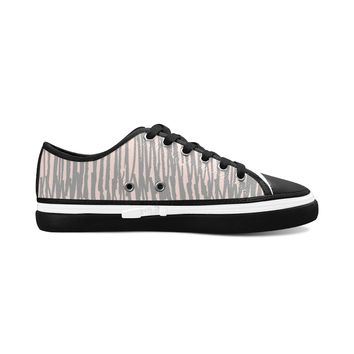 Gray Stripes Theme Black Base Women's Nonslip Canvas Shoes