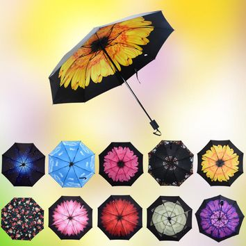 Creative little fresh air umbrella black gel anti-uv sunshade umbrella