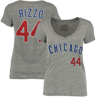 Anthony Rizzo Chicago Cubs Majestic Threads Women's Name and Number V-Neck T-Shirt - Gray
