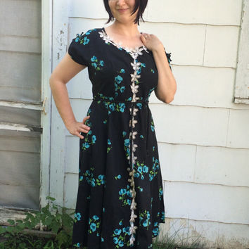 Black Floral Dress 40s Vintage Rockabilly Blue Print Paintset XL