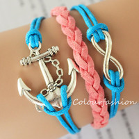 Graduation Gift, Infinite Charm, Silver Anchor Charm, Pink leather, Blue Cords, Braid Leather, Silver Jewelry, Personalized