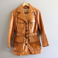 Fargo movie costume! Honey brown genuine leather short belted trench coat/ jacket,  leather button, tailor collar, sherpa fleece lining