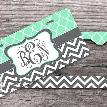 set of two mint trellis pattern and charcoal gray chevron monogrammed license plate and