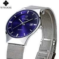 New Fashion top luxury watches men quartz-watch stainless steel mesh strap ultra thin dial clock