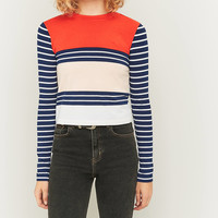 Urban Outfitters Mixed Red Stripe Long Sleeve Crop Top | Urban Outfitters
