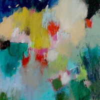 "Intuitive Abstract Landscape Painting, Small Original Artwork, Contemporary Art, ""Climb"""