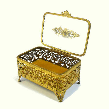 Vintage Jewelry Box with Roses Brass Gold Ormolu Filigree Trinket Vanity Catch All Ring Holder Ornate Metal Filigris Gold Box with Glass Lid