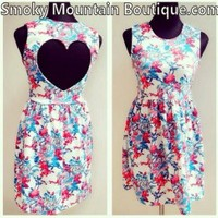 Sexy Sophie Heart Open Cut Out Back Multi Color Floral Dress- Size S/M - Smoky Mountain Boutique