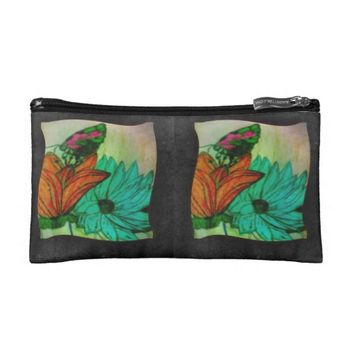Teal Green And Black Butterfly cosmetic bag