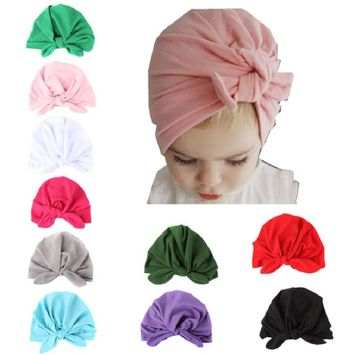 Bunny Baby Girl Caps Cotton Children Beanie Solid Knot Bucket India Hat Boys Snapbacks 1 2 3 4 5 6 Years Toddler Headwear Scarf