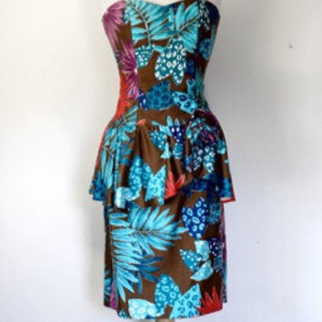 80s Tropical Print Stapless Dress