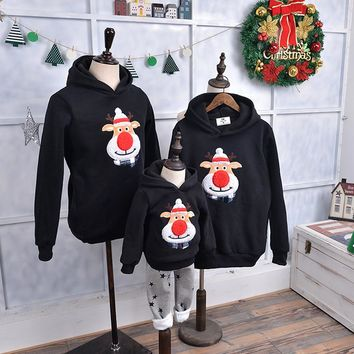 Family Matching Outfits-Christmas Red Nose Deer Sweater