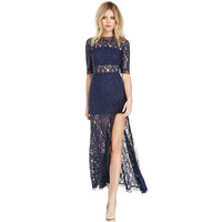 Deep V -Slit Hit Color Lace Dress