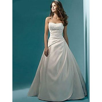 Vestidos De Novias Elegant New Stock US Size 2-22 White/Ivory Beading Sequined Strapless Satin A-Line Wedding Dress Bridal Gown