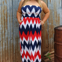 Made In America Chevron Print Maxi Dress ~ Red ~ Sizes 12-18