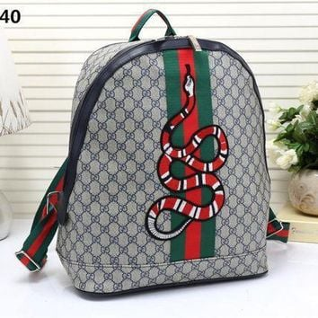 Gucci Women Men Fashion Personality Classic Print Multicolor Stripe Snake Pattern Embroidery Backpack Large Capacity Double Shoulder Bag-2
