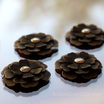 Large Magnet Flowers Darkness in Bloom Set of 4 Black Cardstock Paper Flowers Flower Favors