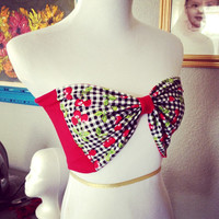 Vintage Inspired Cherry Bow Tube Top, Retro, Rockabilly, 1950s