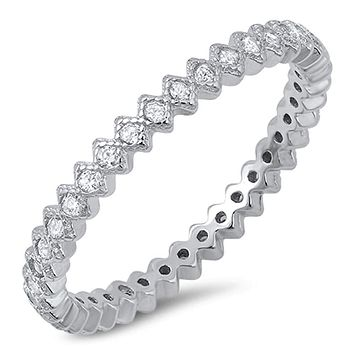 2mm Sterling Silver Cubic Zirconia in Diamond Squares Eternity Band