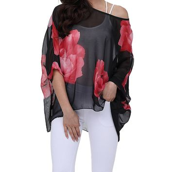 Floral Batwing Sleeve Loose Blouse Tops