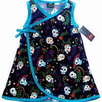 "Kid's ""Sugar Skull"" Dress by Conscious Children's Clothes (Blue)"