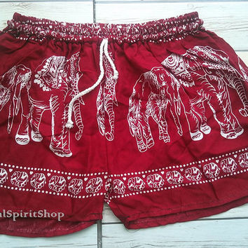 Red Boho Elephants Print Shorts Ikat Summer Beach Fashion Tribal Clothing Aztec Ethnic Hobo Cloth Cute Comfy Wear with Tank top or Jeans