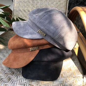 LMFUF3 Dior' Autumn Winter Women Simple All-match Suede Letter Flat Cap Bowler hat
