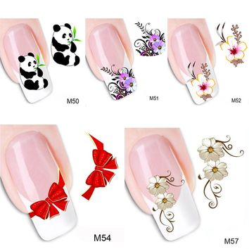 5Pcs=5 Styles Water Transfer Decals Nail Stickers DIY Nail Decorations Tools For 3D Nail Art Nail Design Manicure Beauty Makeup