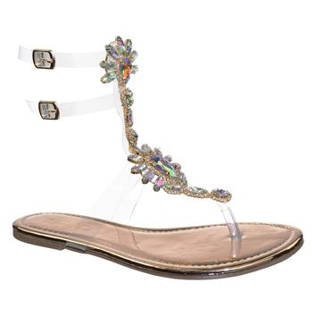 Marlo9 Lucite Clear Transparent Iridescent Flat Sandal w Rhinestone Crystal