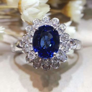 18K Gold 2.021ct Natural Sapphire Women Ring with 0.427ct Diamond Setting 2017 New Fine Jewelry Wedding Band Engagement