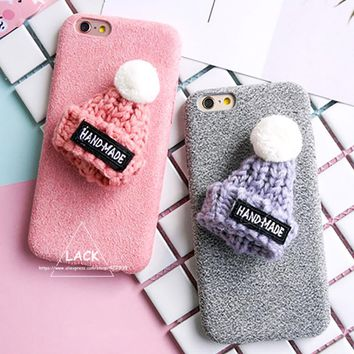 Luxury Warm Fuzzy Case For iphone 7 Case Cute Cartoon Plush Hat Phone Cases For iphone7 6 6S Plus Cover Fashion DIY Capa Newest