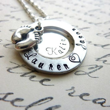 Personalized New Mommy Necklace Baby feet Hand stamped Pregnancy Jewelry Baby Shower Gift