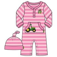John Deere Baby Pink Stripe Creeper with Hat Set (3-24 Months) - LP35798