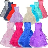 2015 Girls Embroidered Flower Ball Gown Dresses Party Pageant Wedding Prom Bridesmaid Clothing [7981335303]
